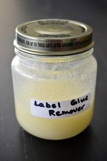 Ladybug's Landing: Label Glue Remover Label Glue Remover  2 Tbsp Baking Soda 2 Tbsp Olive Oil 1/4 tsp Salt