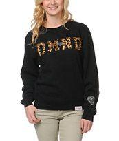 8b5e1d645e283 Diamond Supply Girls DMND Leopard Black Crew Neck Sweatshirt Garra