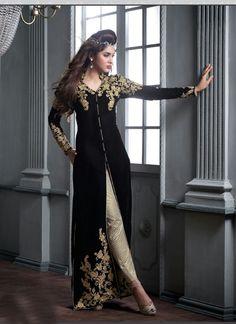 Black Wholesale Designer Suit In Velvet Fabric