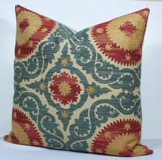 Decorative Suzani pillow cover 20x20 teal blue red by WilmaLong, $48.00