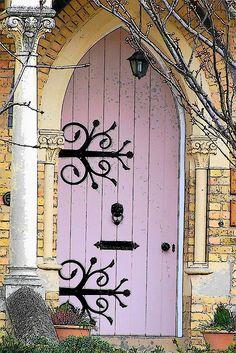 lilac arched door