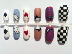 Hey, I found this really awesome Etsy listing at https://www.etsy.com/listing/247128942/alice-in-wonderland-nails