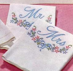 5211 His, Hers, Mr & Mrs for guest towels and Pillow cases. A 1950s hand embroidery pattern.