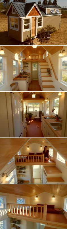 The Unita: a 236 sq ft home by the Oregon Cottage Company. The home has two loft bedrooms, a full kitchen, living room, and a bathroom! Tiny House Cabin, Tiny House Living, Tiny House Plans, Tiny House On Wheels, Small Room Design, Tiny House Design, Tiny House Movement, Tiny Spaces, Little Houses