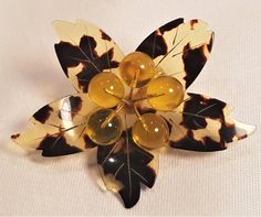 Beautiful Vintage Cellulose Acetate Faux Tortoise Shell Flower Pin : Whimzy Treasures   Ruby Lane