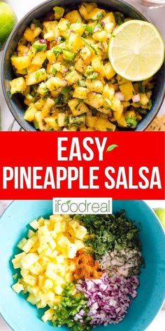 Pineapple Salsa is a 10 minute sweet and zesty summer must have appetizer. Serve with chips or over grilled chicken, fish or pork. Top on burritos, quesadillas or tacos. Mexican Food Recipes, New Recipes, Cooking Recipes, Favorite Recipes, Healthy Recipes, Freezer Recipes, Freezer Cooking, Freezer Meals, Drink Recipes