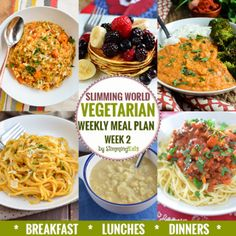 Slimming Eats Vegetarian Weekly Meal Plan - Week 2 - Slimming World Recipes - taking the work out of planning so you can just cook and enjoy the food. Vegetarian Weekly Meal Plan, Veggie Meal Plan, Diet Meal Plans, Veggie Recipes, Vegetarian Recipes, Vegetarian Italian, Meal Prep, Vegetarian Diets, Going Vegetarian