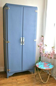 Meuble toile haut de rangement armoire relook gris - Meuble cuisine annee 50 ...