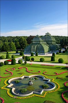 At the nicely manicured gardens of the Schönbrunn Park and Botanical Garden in Vienna, Austria. Places Around The World, Travel Around The World, Around The Worlds, Places To Travel, Places To See, Wonderful Places, Beautiful Places, Wachau Valley, European Travel