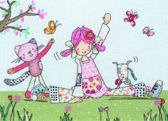 The already popular girl's ragdoll-inspired character Emily Button demonstrates her agile skills in this gymnast themed cross stitch kit from Anchor.  Made from vintage style fabrics, ribbons and buttons, Emily loves to solve day-to-day problems with creativity, along with help from her friends Bobble the cat and Mousey the mouse.  #EmilyButton #CrossStitch #Gymnastics