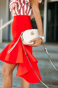 Red ruffle skirt to make a statement