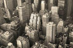 new york city apartment skyline black and white