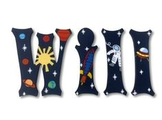 Outer E Nursery Letters Rocket Eship Astronaut Planets Wall For Wooden Hanging Decor