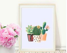 Cactus Art, afdrukbare Art, Cactus Print, Home Decor, Potted Cactus, aquarel, vetplanten, wand decor, Instant Download
