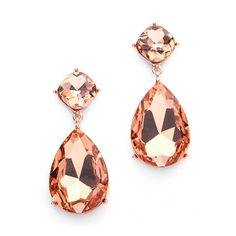 Clear Crystal Oval Drop Bling Earrings in Rose Gold