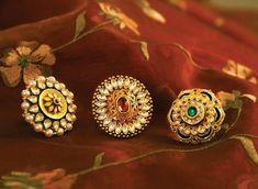 Trio for Mehendi, Sangeet and Wedding. Gold Rings Jewelry, Head Jewelry, Wedding Jewelry, Antique Jewelry, Jewelery, Wedding Gold, Jewelry Sets, Wedding Bands, Rajput Jewellery