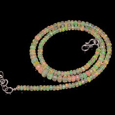 """47CRTS 4to5.5MM 18"""" ETHIOPIAN OPAL FACETED RONDELLE BEADS NECKLACE OBI2112 #OPALBEADSINDIA"""