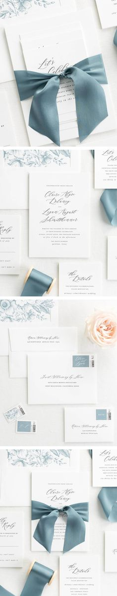The Claire wedding invitation collection is perfect for any upscale wedding.