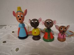 4 Vintage Disney Production Cinderella Mice Jaq Gus Wood Kokeshi Mouse Figurine