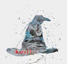 Fiche Choipeau / Broderie au point de croix / grille point compté Harry potter Moderne PDF geek cross stitch
