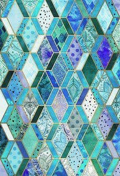 """Sapphire & Emerald Diamond Patchwork Pattern"" by micklyn | Redbubble"