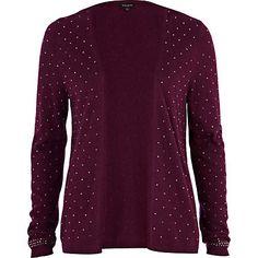 dark red studded cardigan - cardigans - knitwear - women - River Island