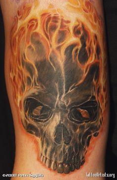 Realistic Flame Skull Tattoo On Half Sleeve