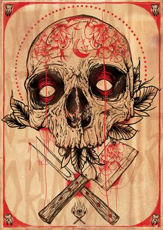 BUTCHERS SKULL ROSE by Michael Dos Ramos, via Behance #skull #butcher #red #macabre #drawing #illustration