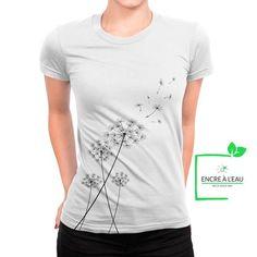 Dandelion on women's t shirt screenprint on Eco water based ink Creation T Shirt, Black Print, All Black, Custom Shirts, Screen Printing, Dandelion, Canada Post, Quebec City, Ink