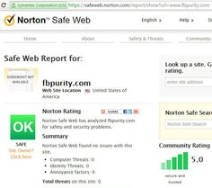 Scanned FB Purity website with Norton SafeWeb security scanner. The result as always: FB Purity is Safe! Clean up and Customise Facebook with FB Purity: www.fbpurity.com