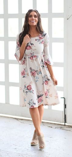 Callie Dress (Cream Floral) – ModestPop.com This great cream floral print maxi dress is made of super soft comfortable stretchy material. This dress is comfortable and is perfect for all shapes and sizes.