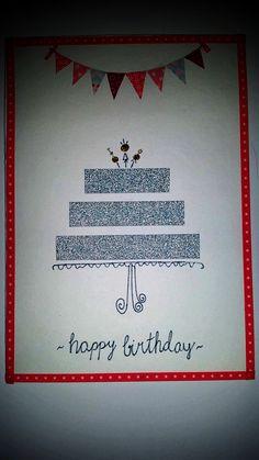 Geburtstagskarte mit Wimpelkette und Torte