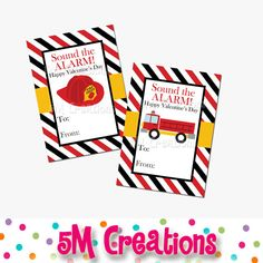 Printable Fire Truck School Valentines Card by 5M Creations