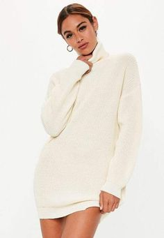d49065b07 Missguided White Turtle Neck Knit Sweater Dress