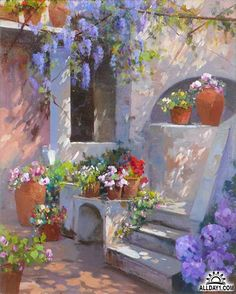 Watercolor Art, Flower Painting, Art Painting, Fine Art, Light Painting, Pastel Landscape, Painting, Oil Painting, Mediterranean Art