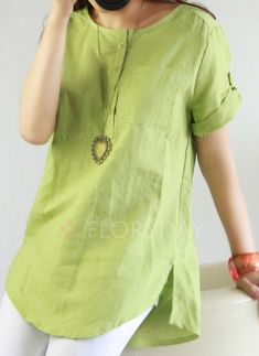 Blouses - $19.99 - Solid Casual Cotton Round Neckline Short Sleeve Blouses (1645202648)