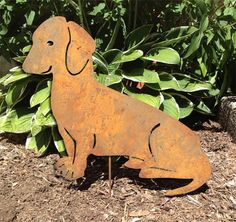 Dachshund Garden Stake or Wall Hanging / Garden Art / Pet Memorial / Shadow / Cut Out / Metal / Silhouette / Dog / Rusty on Etsy, $44.99