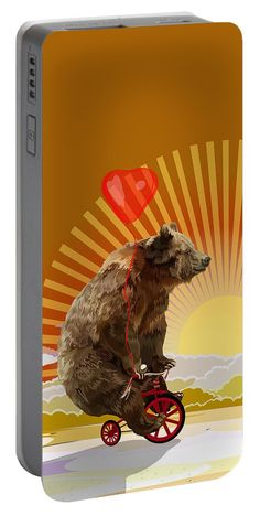 Big Bear With Bicycle Portable Battery Charger Available for @pointsalestore #portablebatterycharger #case #abstract #art #painting #digitalpainting #floral #animals #bear #mashaandthebear #bicycle