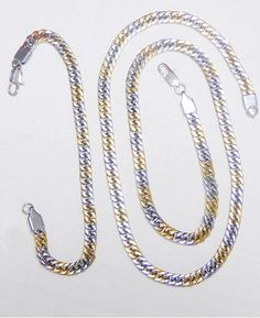 Exclusive Men chain silver and Gold combination with Bracelet