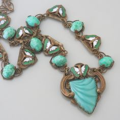 An Art Deco Czech peking glass and enamel butterfly necklace from the 1930's.