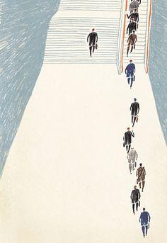 escalator illustration by Masako Kubo Art And Illustration, Illustrations Posters, Grafik Design, Oeuvre D'art, Art Inspo, Mail Art, Illustrators, Design Art, Game Design