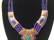 Halskette, Himalaya, Ethnoschmuck, Lapislazuli