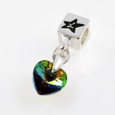 Charm with SWAROVSKI ELEMENTS crystal heart pendant Iridescent Rainbow Green, silver version http://store.lovya.net/letters-from-your-heart-lovya/327-charm-wiszacy-krysztal-swarovski-elements-serduszko-opalizujaca-ziele-rainbow-wersja-srebrna.html