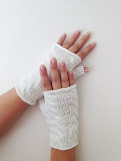 White Wool Fingerless Gloves Armwarmers  Hand Knit by NesrinArt, $16.00