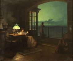 Marcel Rieder - Two women on veranda overlooking the sea