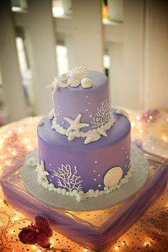# lavender beach wedding cake