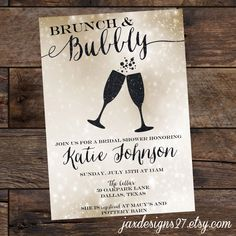 Bubbly Bridal Shower Bubbly and Brunch Glitter by JaxDesigns27