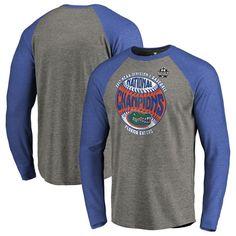 Florida Gators Fanatics Branded 2017 NCAA Men's Baseball College World Series National Champions Vintage Raglan Long Sleeve T-Shirt - Heather Gray