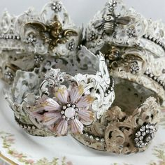 Mini soldered & embellished crowns by Bella Society. Chippy, shabby & fabulous!