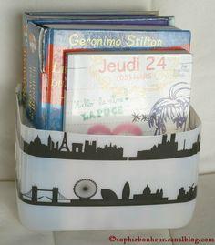 bidon recyclé en boîte de rangement et décoré de Deco tape